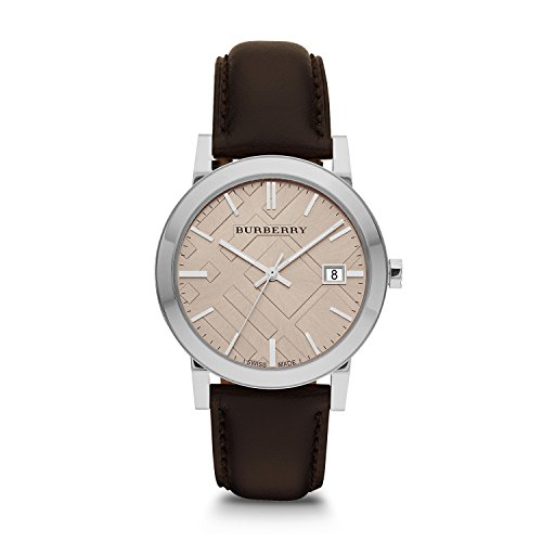Burberry Fawn Dial Brown Leather Mens Watch BU9011