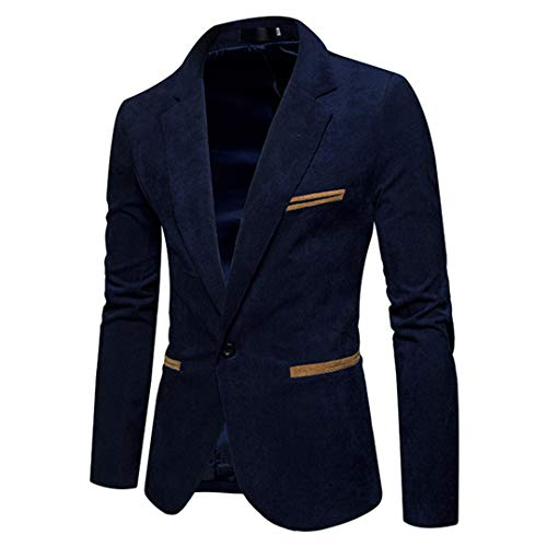 VEQWHDL Corduroy Patchwork Mens Business One Button Slim Fit Male Suits Jacket Navy ()