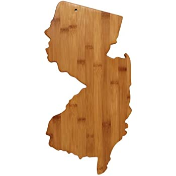 """Totally Bamboo State Cutting & Serving Board – """"NEW JERSEY"""", 100% Organic Bamboo Cutting Board, Extremely Strong and Durable Perfect for Cooking, Entertaining, Decor and Gift Set. Designed in USA"""
