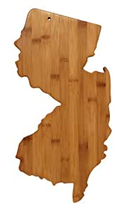 """Totally Bamboo State Cutting & Serving Board – """"NEW JERSEY"""" 100% Organic Bamboo Board for Cooking, Entertaining, BBQ & Gift Sets! Designed in USA, Premium craftsmanship GUARANTEED."""