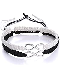 2PC/SET Stainless Steel 8 Infinity Couple Bracelet Braided Leather Rope Bangle Wrist Adjustable Chain Fit 7-9 Inch for lover Friendship