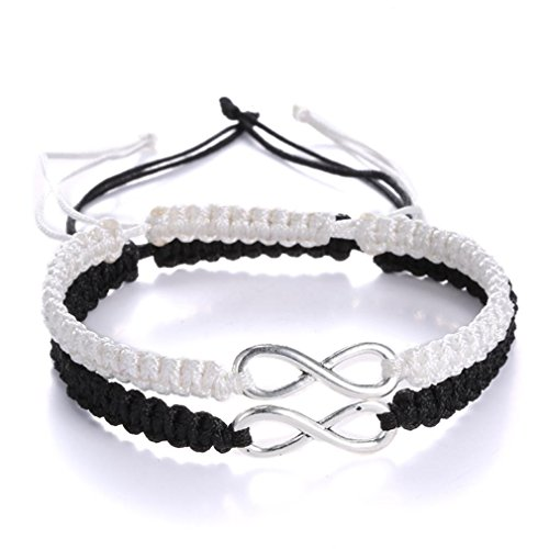 Rinhoo Handmade Key and Lock Lovers Braided Bracelet With Prince And Princess Letter Jewelry Set (Infinity(Black+White))