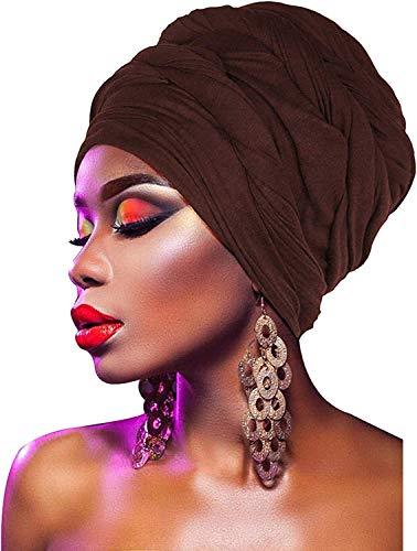 (L'VOW Women' Soft Stretch Headband Long Head Wrap Scarf Turban Tie (Brown))