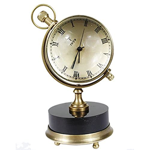 World globe clocks amazon antique retro vintage inspired brass metal craft world globe table clock home decor 25 inch gumiabroncs Image collections