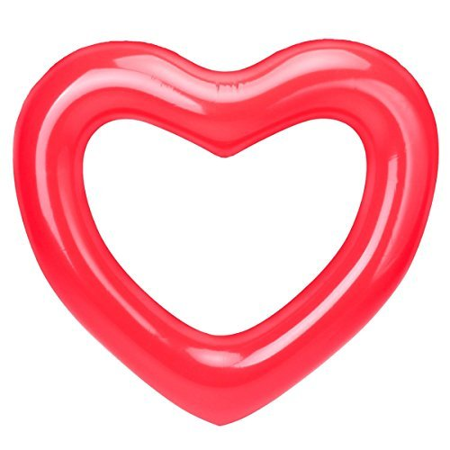 Inflatable Swim Rings,Red Love Heart Swim Ring - Fun Adults or Kids Swim Party Toy (Love Heart)