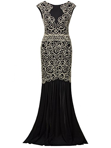 Vijiv 1920s Inspired Gatsby V Back Art Deco Beaded Maxi Evening Long Prom (80 Fancy Dress Plus Size)
