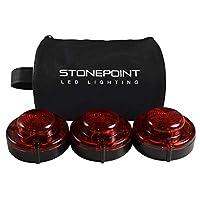 Kit de destellos de carretera LED de emergencia Stonepoint: juego de 3 balizas LED super brillantes con base magnética - Luces rojas intermitentes o fijas visibles hasta 2 millas de distancia - Incluye bolsa de almacenamiento