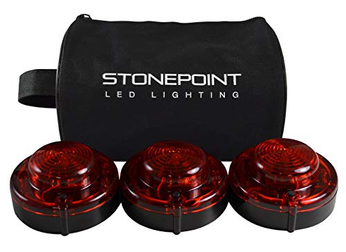Stonepoint Emergency LED Road Flare Kit - Set of 3 Super Bright LED Roadside Beacons with Magnetic Base - Flashing or Steady Red Lights Visible Up to 2 Miles Away - Includes Storage Bag ()