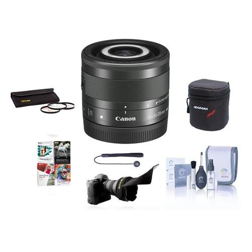 Canon EF-M 28mm f/3.5 Macro IS STM Lens U.S.A. Warranty - Bundle with 43mm Filter Kit, Soft Lens Case, Flex Lens Shade, Cleaning Kit, Capleash, Software Package by Canon