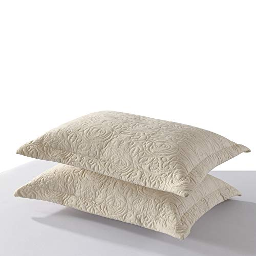 MarCielo 2-Piece Embroidered Pillow Shams, Queen Size Decorative Microfiber Pillow Shams Set, Standard Size Beige