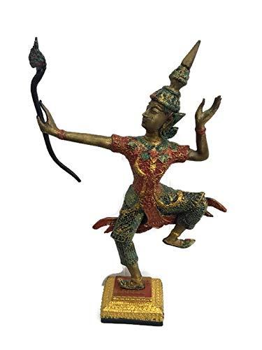 Brass Lucky KING RAMA ARCHERY BOW Thai Miniature RAMAYANA Vintage Collect Statue