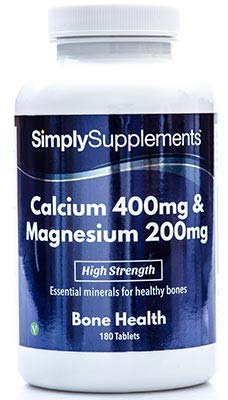 Calcio 400 mg y Magnesio 200 mg - 2 frascos de 180 comprimidos - 6 meses