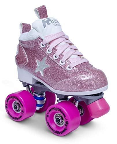Sure-Grip Girls Roller Skates - Indoor Outdoor Classic Quad Design - Kids Rock Star Pink Glitter Roller Skates (Junior 13)