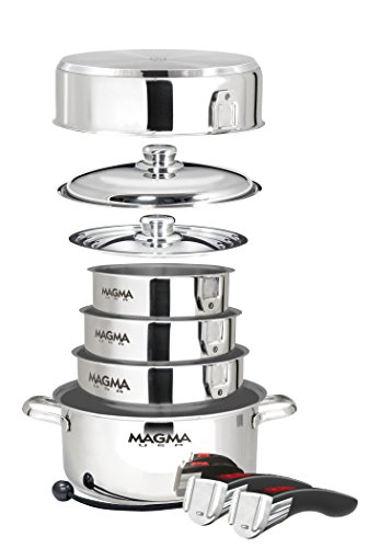 Magma Products, A10-366-IND A10-366-IND, 10 Piece Gourmet Nesting Stainless Steel Cookware, Non-Stick Ceramica for Induction Cooktops For Sale