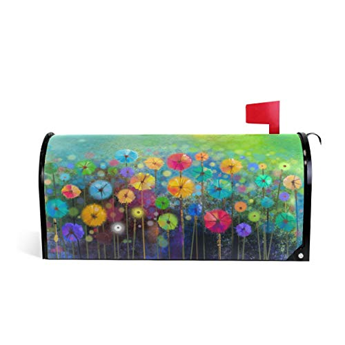 (ALAZA Seasonal Nature Spring Summer Autumn Winter Flowers Magnetic Mailbox Cover Oversized-25.5