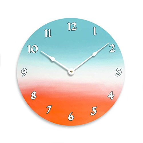 Contemporary 10 inch wall or kitchen clock. Teal, white and