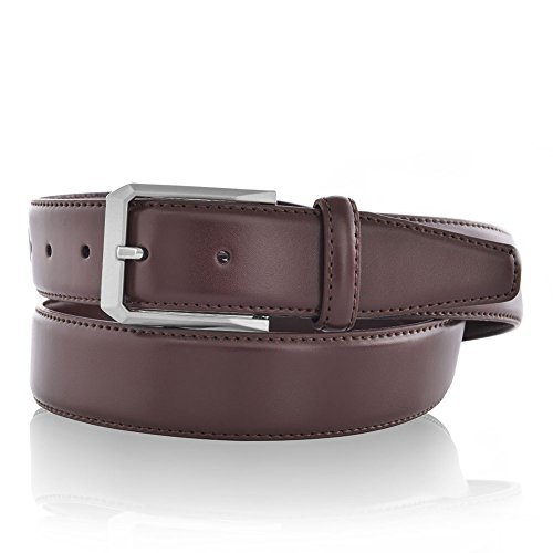 [Burgundy Dress Belts for Men Silver Buckle in Gift Set Brown] (Mens Silver Belt Buckles)