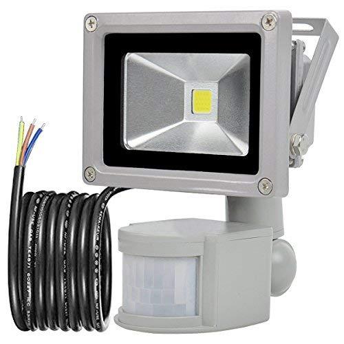GLW 10W Foco LED con Sensor Movimiento,blanco frío 6000K,240V,Línea de 1 metro,Impermeable IP65 Luz de seguridad, Iluminación de Exterior ...