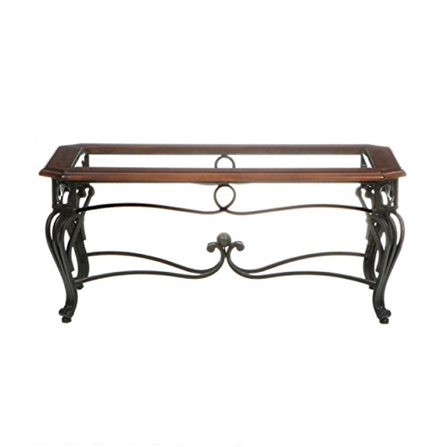 Prentice Cocktail Table - Dark Cherry w/ Black Metal Frame - Glass Top (Wrought Iron Coffee Table With Wood Top)