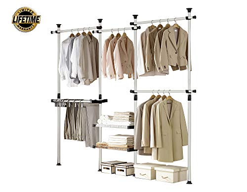 PRINCE HANGER, Deluxe Pants & Shelf Hanger, Holds 60kg(132LB) per Horizontal bar, Heavy Duty, 32mm Vertical Pole, Clothing Rack, Clothes Organizer, Pants Hanger, PHUS-0052, Made in Korea (Organizer Closet Systems Ikea)