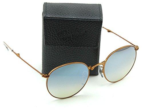 Ray-Ban RB3532 Round Folding Flash Gradient Unisex Sunglasses (Shiny Bronze Frame/Grey Mirror Gradient Lens198/9U, 50)