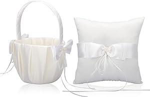 Wedding Ring Pillow Ring Bearer Pillow and Wedding Flower Girl Basket Set Wedding Basket Candy Gift Bag for Wedding Ceremony Decor Wedding Party Decoration