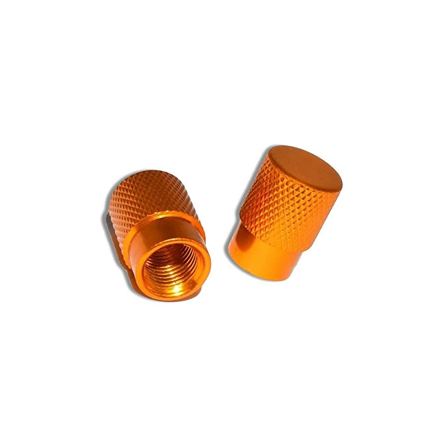 """(2 Count ) """"Diamond Etching Flat Top Easy Grip Texture"""" Valve Stem Dust Cap Seal Made of Genuine Anodized Aluminum Metal {Orange Color Hard Metal Internal Threads for Easy Application Rust Proof}"""