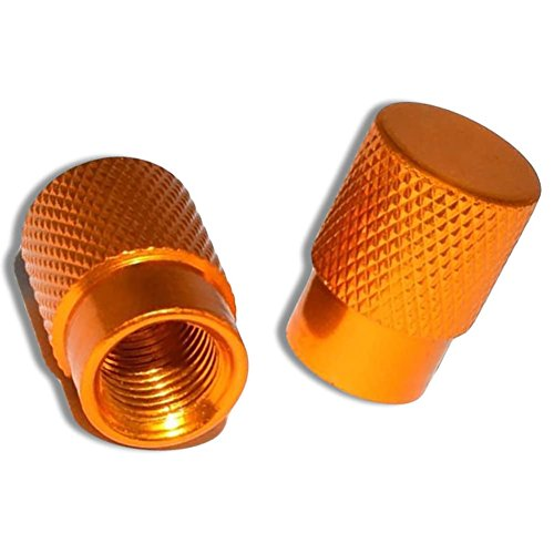 "(2 Count ) ""Diamond Etching Flat Top Easy Grip Texture"" Valve Stem Dust Cap Seal Made of Genuine Anodized Aluminum Metal {Orange Color Hard Metal Internal Threads for Easy Application Rust Proof}"