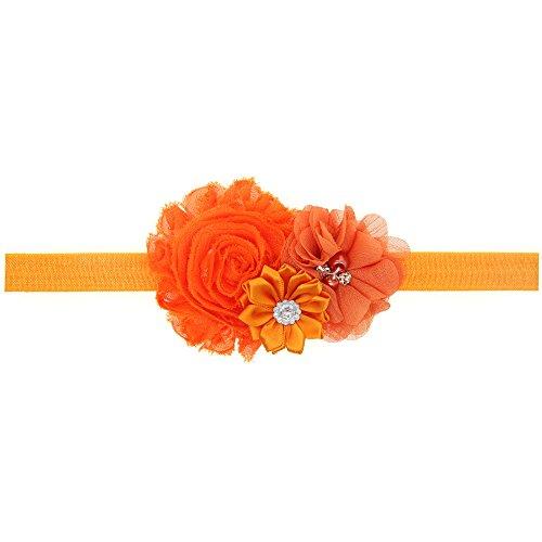 LD DRESS Lovely Baby Girl Headbands Rhinestone Flower Princess (28) (Orange)
