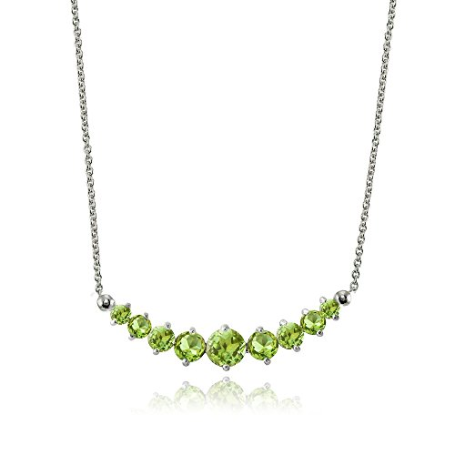 Peridot Journey Pendant - Lovve Sterling Silver Peridot Graduated Journey Necklace with 18 Inch Chain
