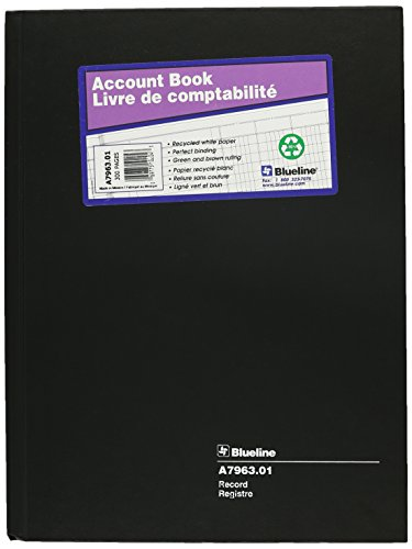 "UPC 069775102043, BLUELINE Record Book, Black, 10.25 x 7.69"", 300 Pages (A7963.01)"