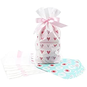 Zealax 12pcs Treat Bags with 100 Sheets Wax Candy Wrappers-Pink Heart Print Drawstring Plastic Favor Bags for Cookie Roasting Treat Gift Wrapping Buffet -Twisting Wax Paper for Caramels Nougat