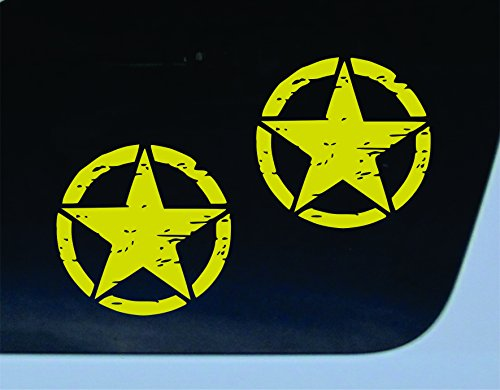 GET 2 Oscar Mike GOLD 5x5 inch vinyl decal distressed star car truck window