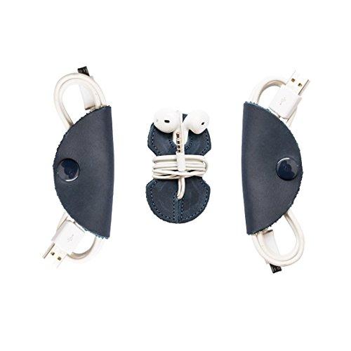 Cord Keeper (Cord Clam) & Headphone Wrap 3-Pack Handmade by Hide & Drink :: Slate Blue