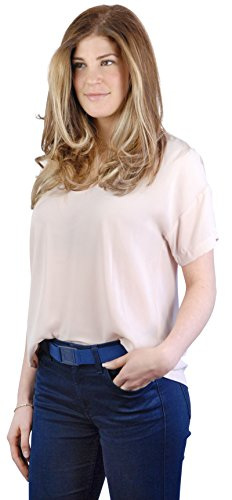 BeltawaySQUARE Adjustable Stretch Belt With No Show Square Buckle (One Size (0-14), White & Denim) by BELTAWAY (Image #1)
