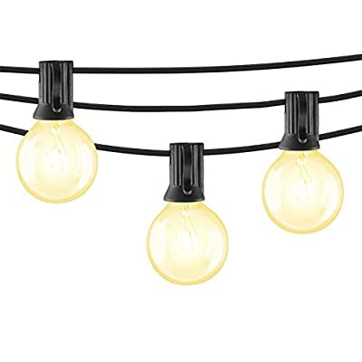 Mr Beams 5W G40 Globe Bulb Incandescent Weatherproof Indoor/Outdoor String Lights, 50 feet, Black