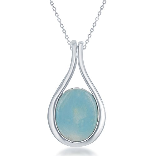 Beaux Bijoux Sterling Silver Oval Natural Larimar Pendant with 18