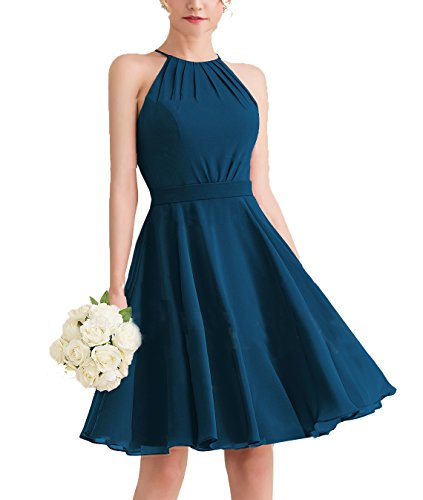 Red Carpet Celebrity Dresses - SHNE Women's Soft Chiffon Open Back Knee Length Wedding Guests Dress Ink Blue Wedding Party Gown US4