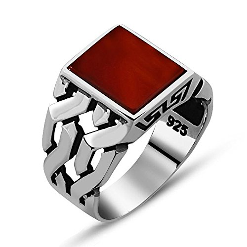 Chimoda Silver Ring for Men in 925 Sterling with Red Agate Stone Braided Design on Sides (9) ()