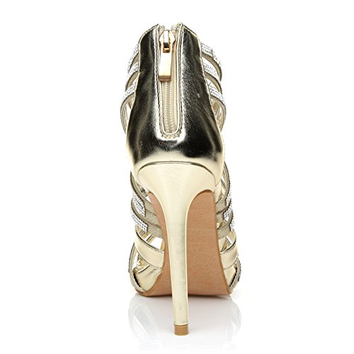 Leather High PU Gold Heel Encrusted Champagne SONIA Sandals Platform Diamante Strappy qYXWI7x6n