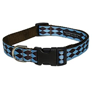Sassy Dog Wear 10-14-Inch Blue/Brown Jester Dog Collar, Small