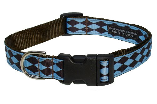 Sassy Dog Wear 18-28-Inch Blue/Brown Jester Dog Collar, Large