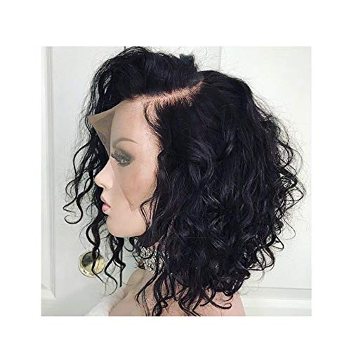 Curly Lace Front Human Wigs For Black Women Pre Plucked With Full Frontal Baby Remy Brazilian Wavy Short Bob Wig,Natural -