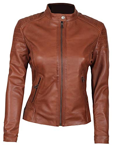 Genuine Lambskin Leather Jackets for Women - Brown Leatehr Jacket | Carrie, XS