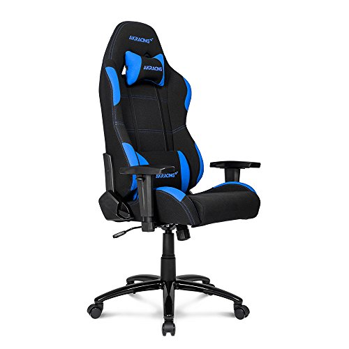 AKRacing Core Series EX Gaming Chair with High Backrest, Recliner, Swivel, Tilt, Rocker & Seat Height Adjustment Mechanisms, 5/10 Warranty - Black/Blue