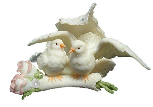 Porcelain Doves & Roses Lace Wedding Cake Topper #61175