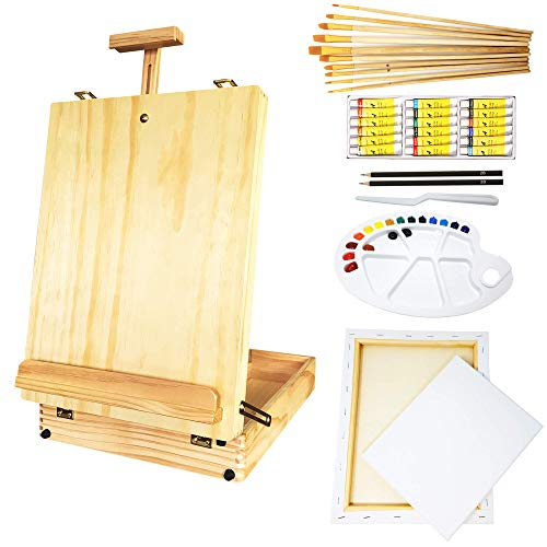 MILO 51 pc Complete Artist Painting Set with Tabletop Wood Easel Box, Stretched Canvas, 18 Acrylic Paint Colors, 10 pc Art Brush Set, and Painting Kit Accessories for Adults and Kids