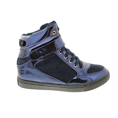 Moca Sneaker-02 Kvinna Avslappnad Konstläder High Top Sneaker Blå