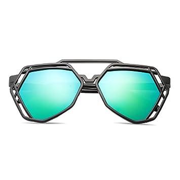 2a400734a303 BM new elegant personalized sunglasses, Ladies Sunglasses, male tide star  glasses, round face, Korean retro eyes,Black box green film (bag):  Amazon.co.uk: ...