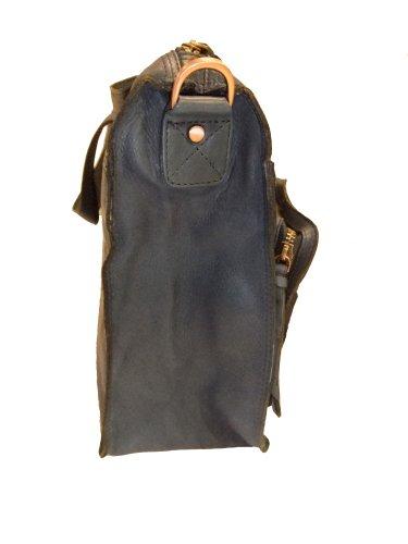 Berba Damen Akten Tasche Leder 155-111 navy blue